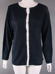 3500 X LADIES BLUE CARDIGAN WITH CREAM TRIM.. JUST £1.50 EACH